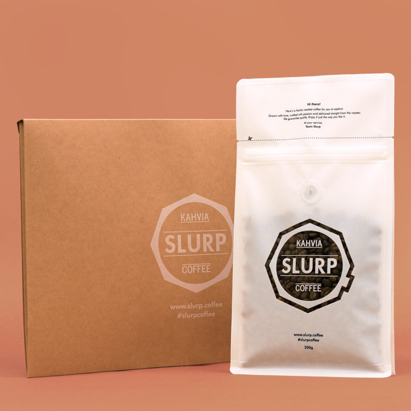 Slurp coffee bag and envelope