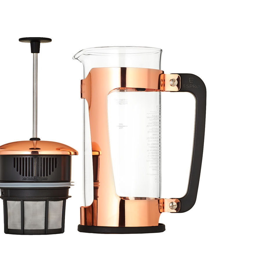 ESPRO-P5-Coffee-Press-Glass-Carafe-and-and-Copper-Plated-Stainess-Steel-Cage-with-filter
