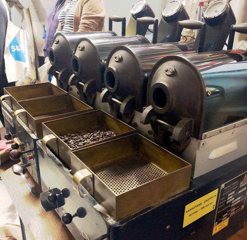 The roasting room of Kaffa Roastery looks delicious like a candy. A bright  yellow wall and an unbelievable aroma of coffee 309c18d691