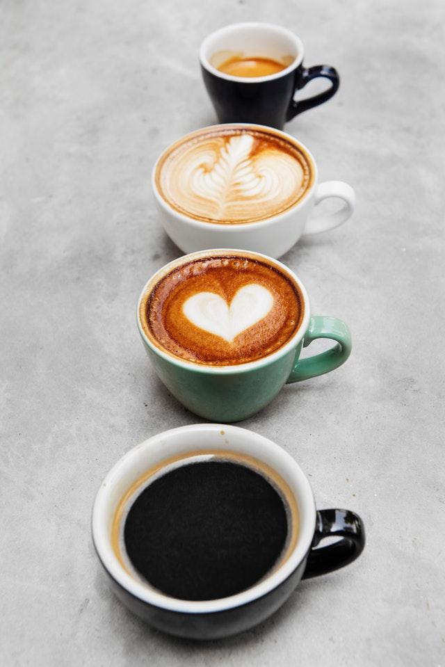 Coffee Drinks: Americano, macchiato, cappuccino and espresso